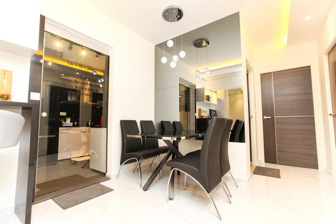 Yishun Street 51, 9's Interior, Modern, Dining Room, HDB, Dining Table, Furniture, Table, Indoors, Interior Design, Chair, Sink