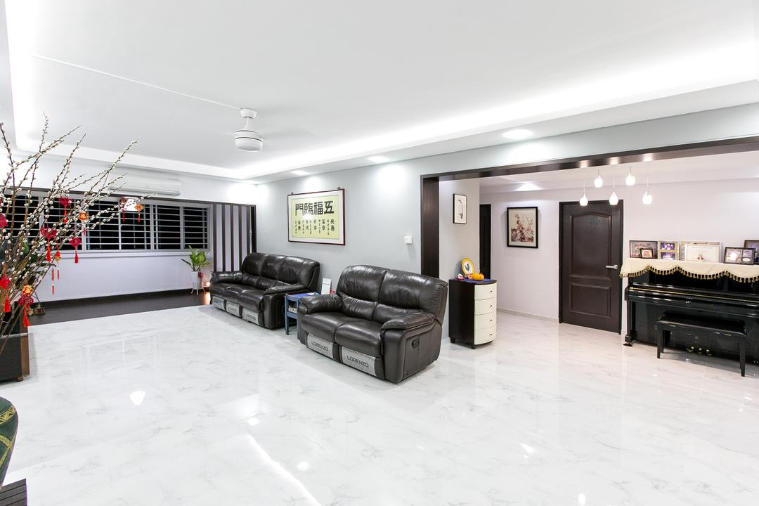 Choa Chu Kang Street 51, 9's Interior, Modern, Living Room, HDB, Couch, Furniture, Leisure Activities, Music, Musical Instrument, Piano, Upright Piano