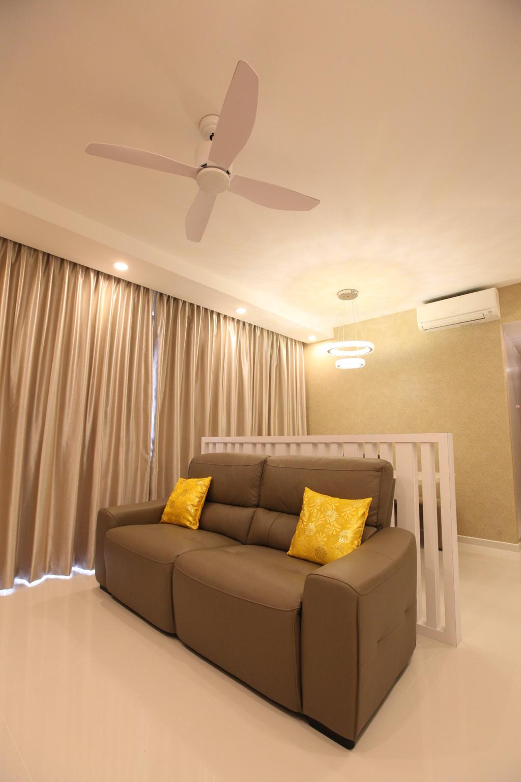 Modern, Condo, Living Room, Twin Waterfalls, Interior Designer, 9's Interior, Couch, Furniture, Chair