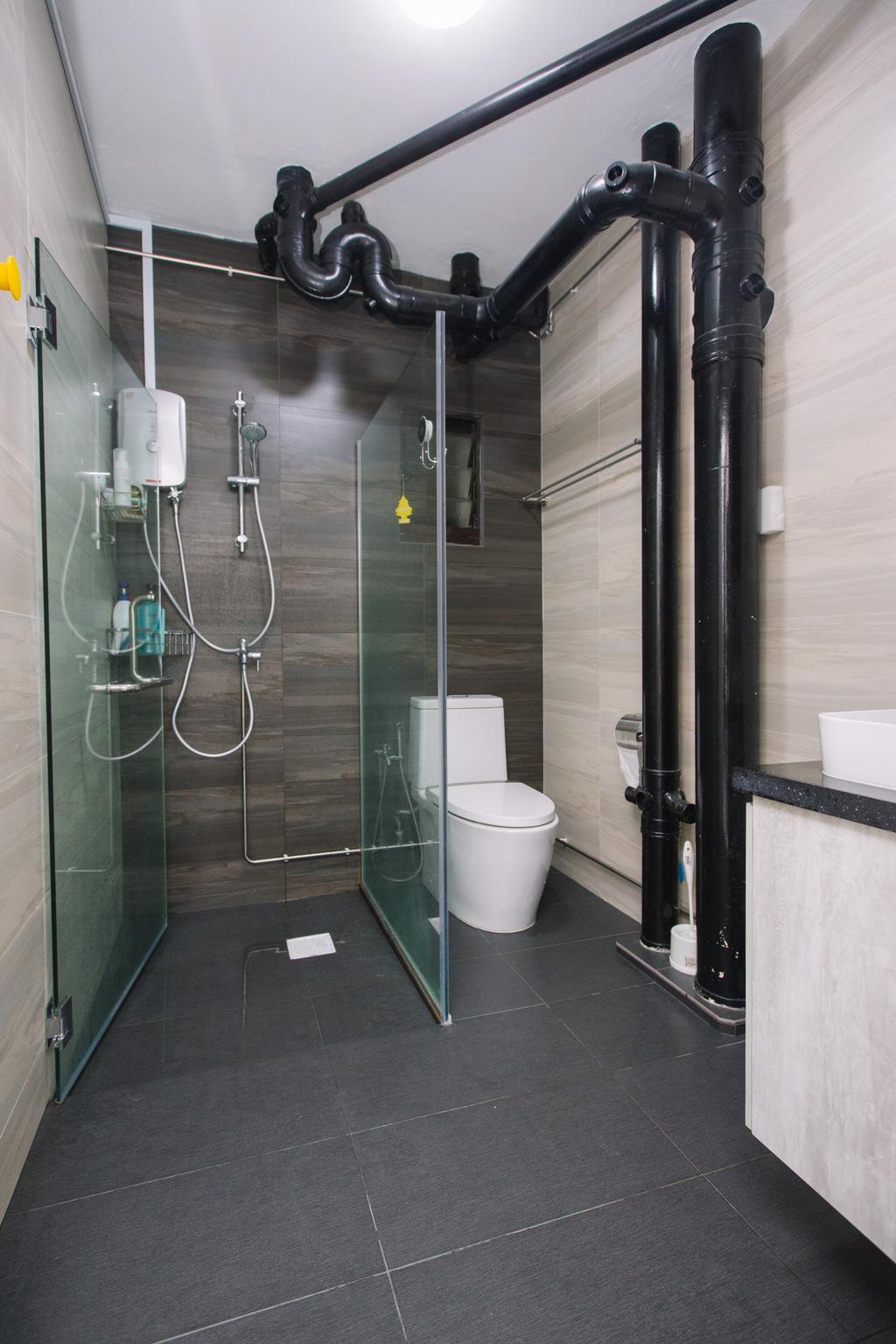 Scandinavian, HDB, Bathroom, Choa Chu Kang North 6, Interior Designer, 9's Interior, Toilet, Indoors, Interior Design, Room, Sink