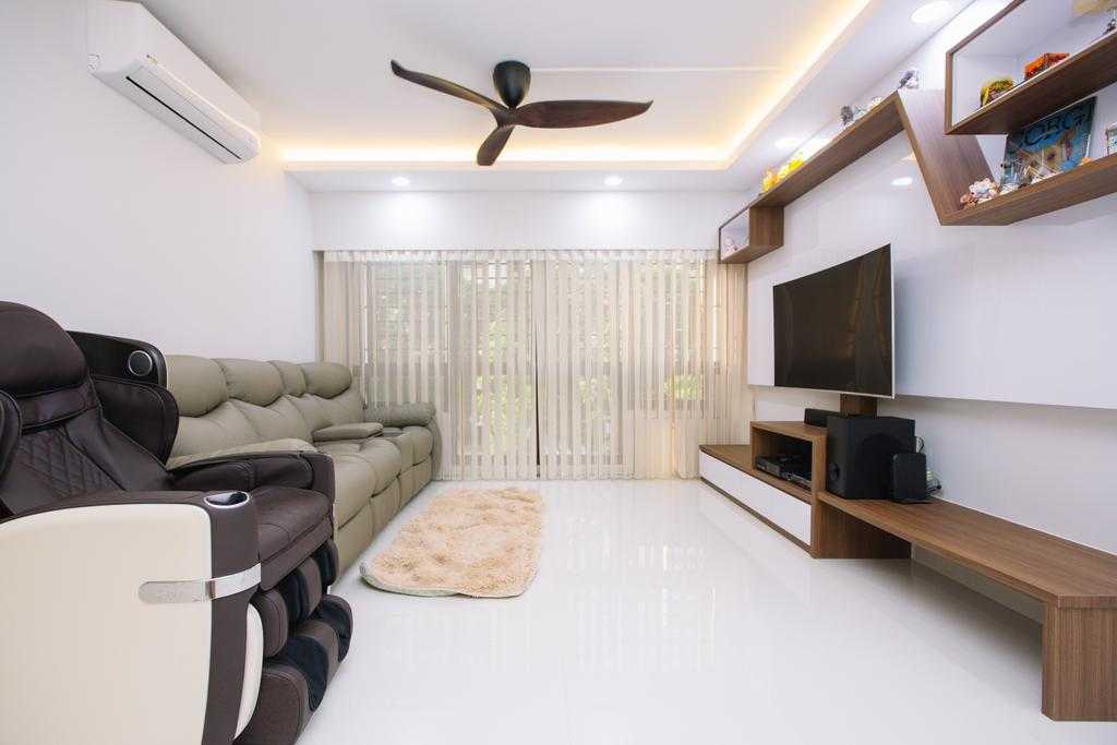 Scandinavian, HDB, Living Room, Choa Chu Kang North 6, Interior Designer, 9's Interior, Electronics, Entertainment Center, Home Theater, Building, Housing, Indoors, Loft, Interior Design