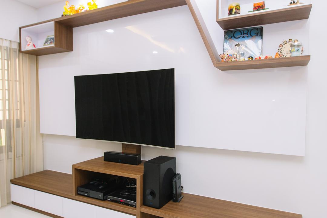 Choa Chu Kang North 6, 9's Interior, Scandinavian, Living Room, HDB, Electronics, Entertainment Center, Loudspeaker, Speaker