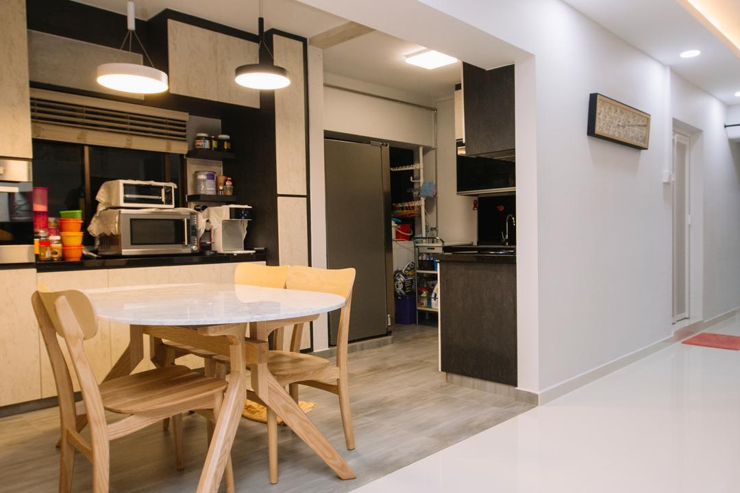 Choa Chu Kang North 6, 9's Interior, Scandinavian, Dining Room, HDB, Lighting, Light Fixture, Furniture, Indoors, Interior Design, Room, Dining Table, Table, Chair