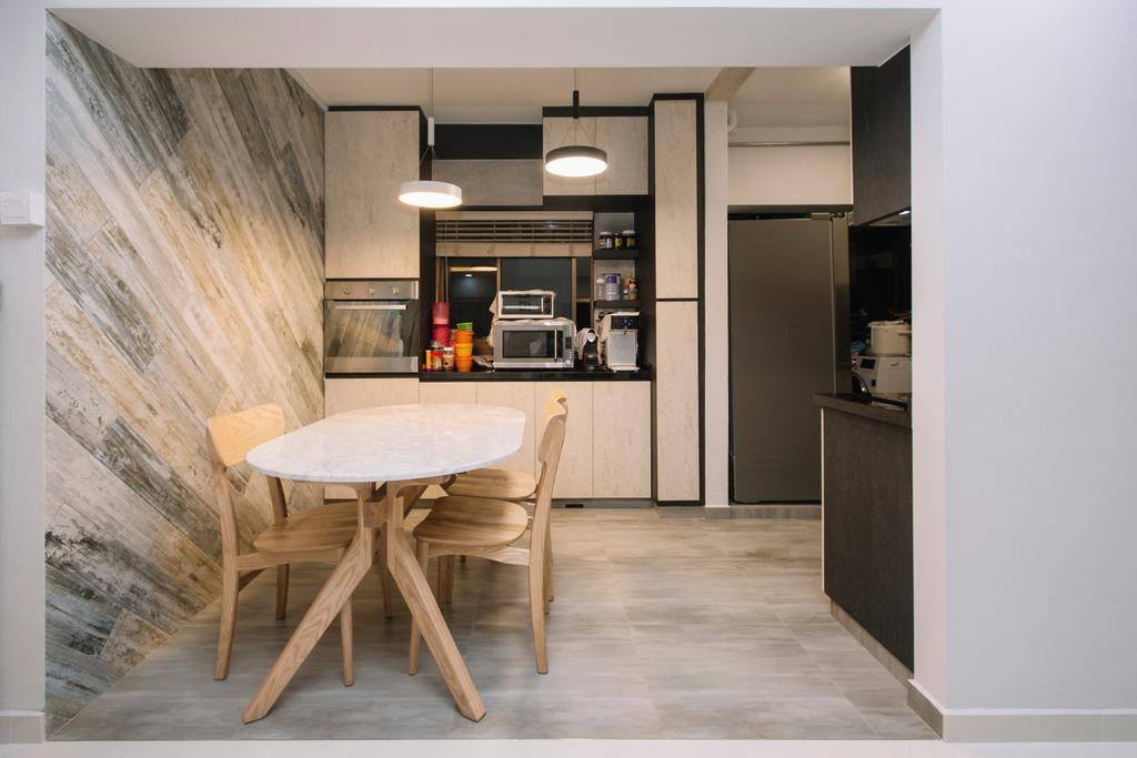 Scandinavian, HDB, Dining Room, Choa Chu Kang North 6, Interior Designer, 9's Interior, Chair, Furniture, Dining Table, Table, Indoors, Interior Design, Room
