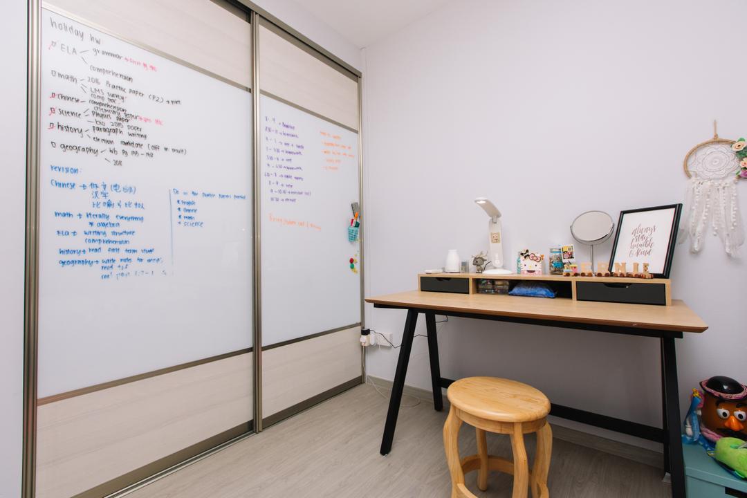 Choa Chu Kang North 6, 9's Interior, Scandinavian, Study, HDB, White Board, Bar Stool, Furniture, Chair, Shelf