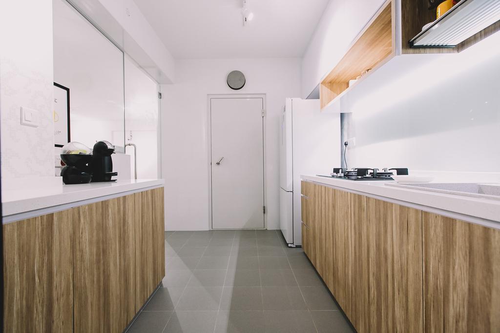 Scandinavian, HDB, Kitchen, Keat Hong Link, Interior Designer, 9's Interior, Minimalist, Indoors, Interior Design, Hardwood, Wood