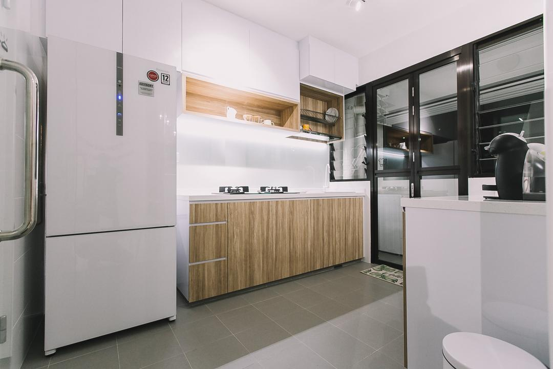Keat Hong Link, 9's Interior, Scandinavian, Minimalistic, Kitchen, HDB, Appliance, Electrical Device, Fridge, Refrigerator, Toilet, Indoors, Interior Design