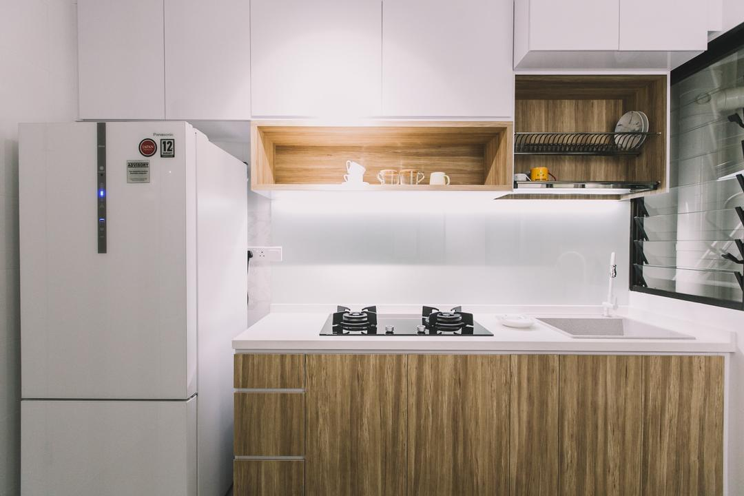 Keat Hong Link, 9's Interior, Scandinavian, Minimalistic, Kitchen, HDB, Appliance, Electrical Device, Fridge, Refrigerator, Indoors, Interior Design, Room