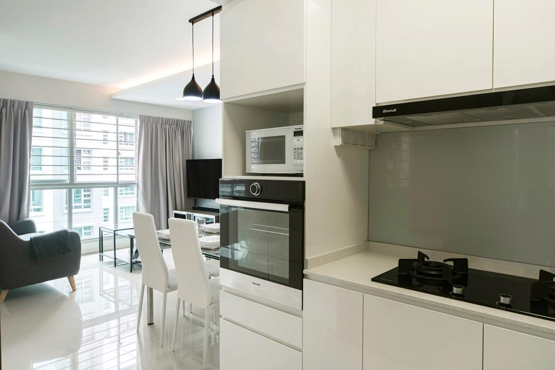 Punggol Drive, Cozy Ideas Interior Design, Modern, Kitchen, HDB, Dining Table, Furniture, Table, Chair, Appliance, Electrical Device, Microwave, Oven