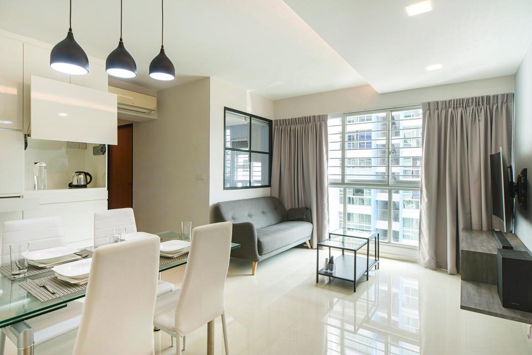 Punggol Drive, Cozy Ideas Interior Design, Modern, Living Room, HDB, Chair, Furniture, Light Fixture, Dining Room, Indoors, Interior Design, Room, Lighting