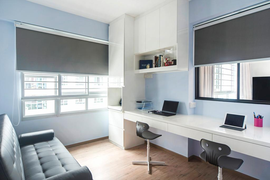Modern, HDB, Study, Punggol Drive, Interior Designer, Cozy Ideas Interior Design, Desk, Furniture, Table, Couch, Chair, Indoors, Room