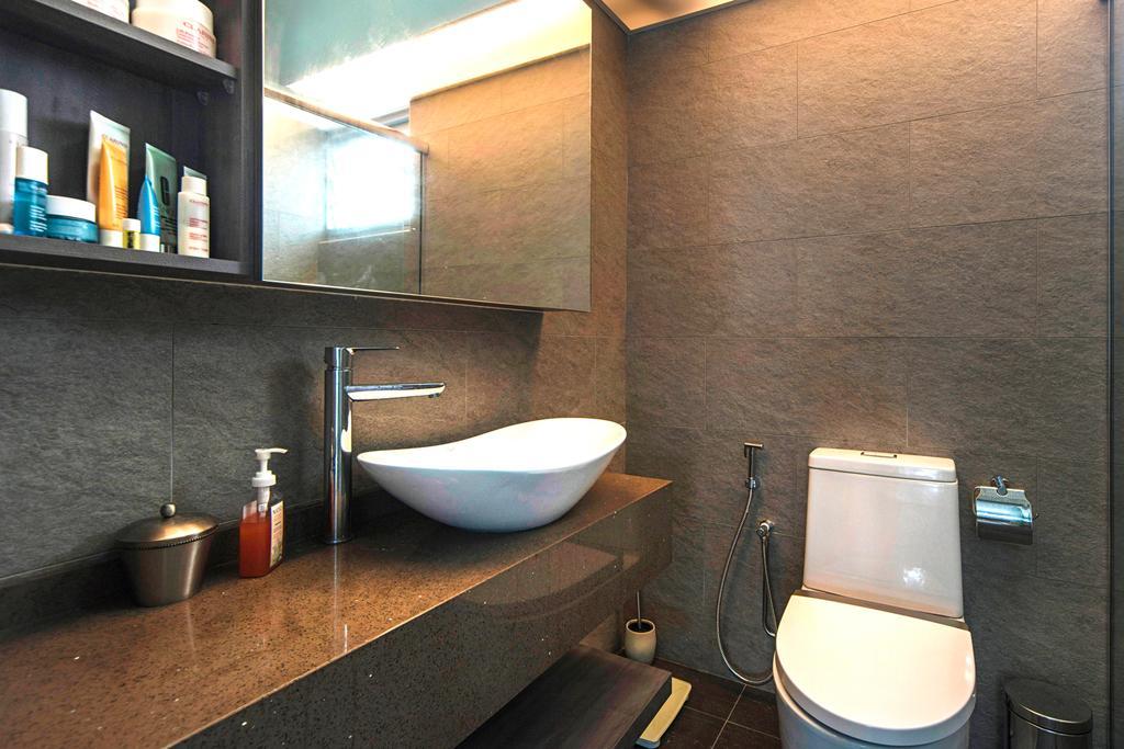 Modern, HDB, Bathroom, Punggol Drive, Interior Designer, Cozy Ideas Interior Design, Toilet, Shelf, Architecture, Building, Skylight, Window