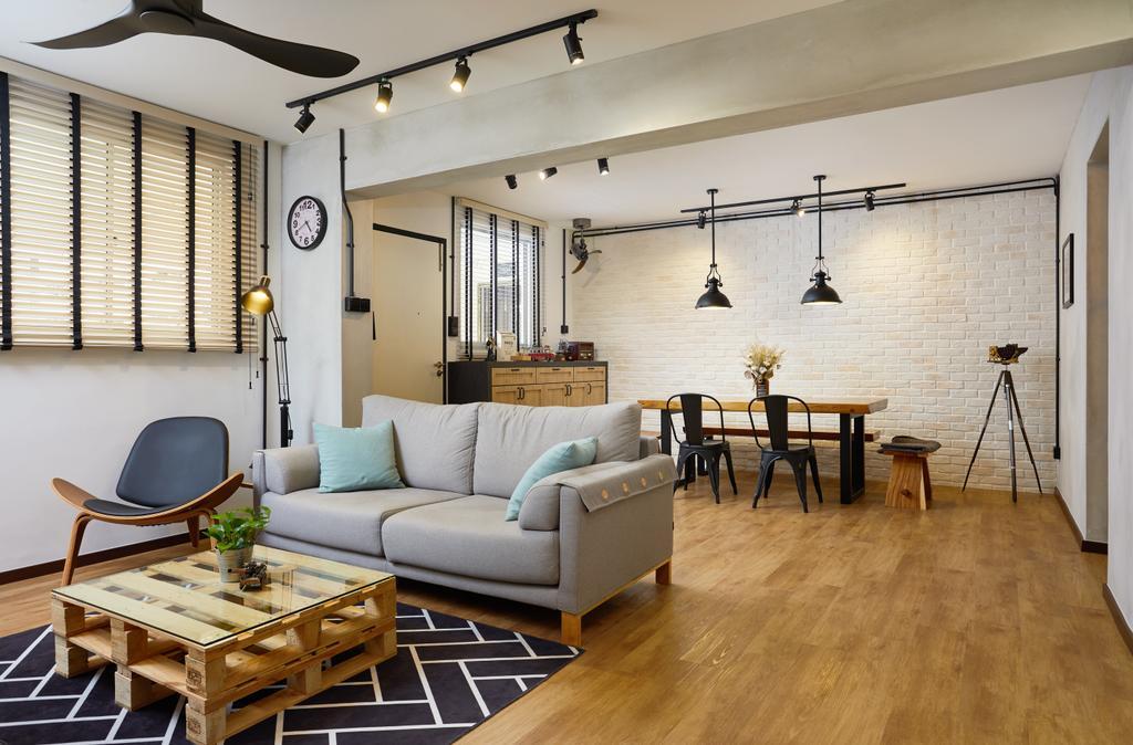 Industrial, HDB, Living Room, Pasir Ris, Interior Designer, The Local INN.terior 新家室, Contemporary