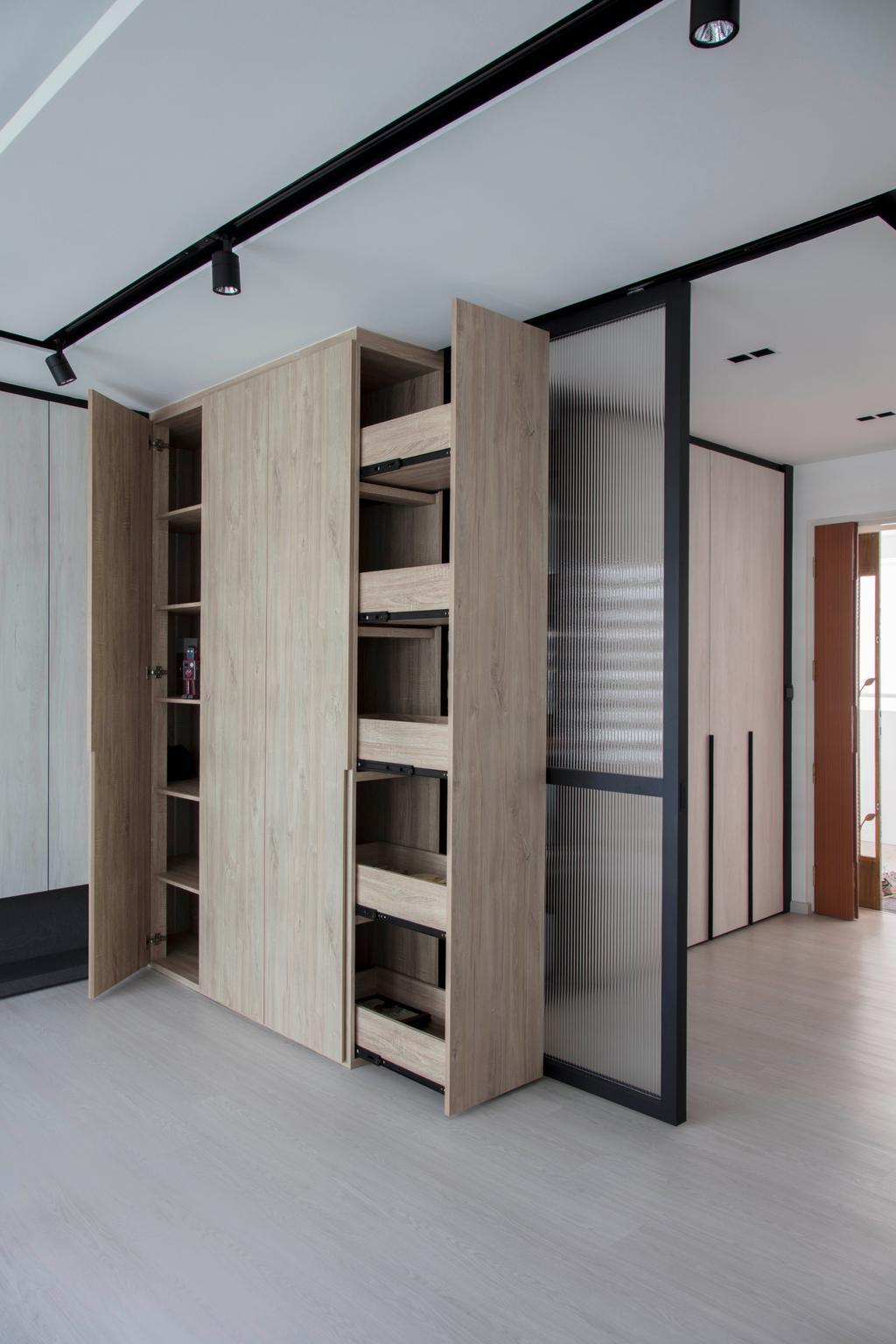 Scandinavian, HDB, Living Room, Yishun Avenue 4, Interior Designer, KDOT, Door, Folding Door, Closet