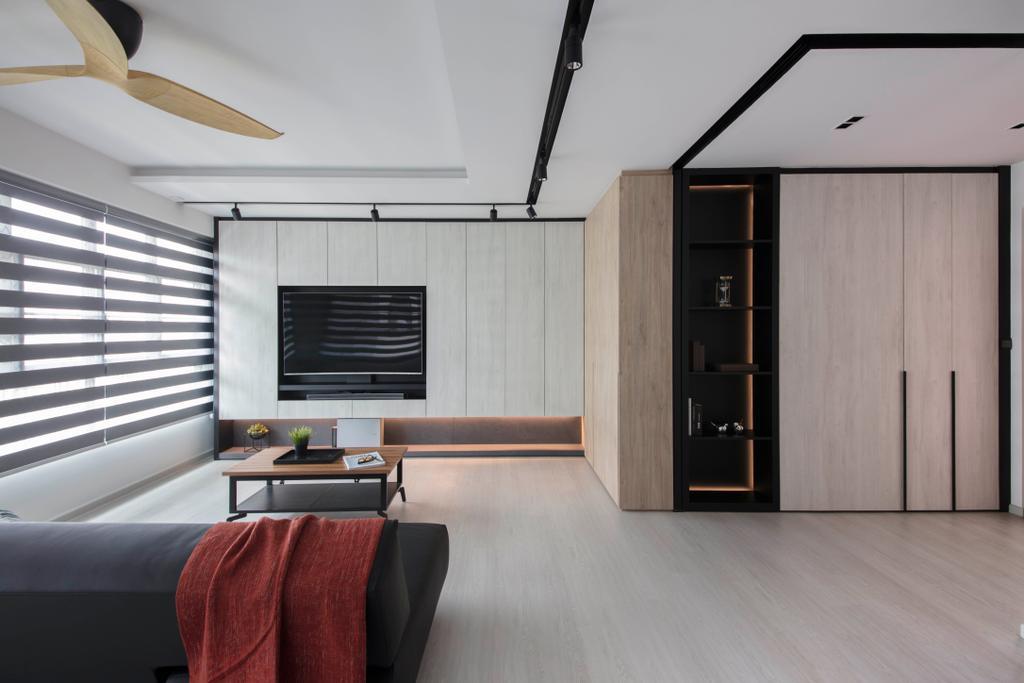 Scandinavian, HDB, Living Room, Yishun Avenue 4, Interior Designer, KDOT, Couch, Furniture, Curtain, Home Decor, Window, Window Shade, Closet, Wardrobe, Indoors, Interior Design, Building, Housing, Loft, Room