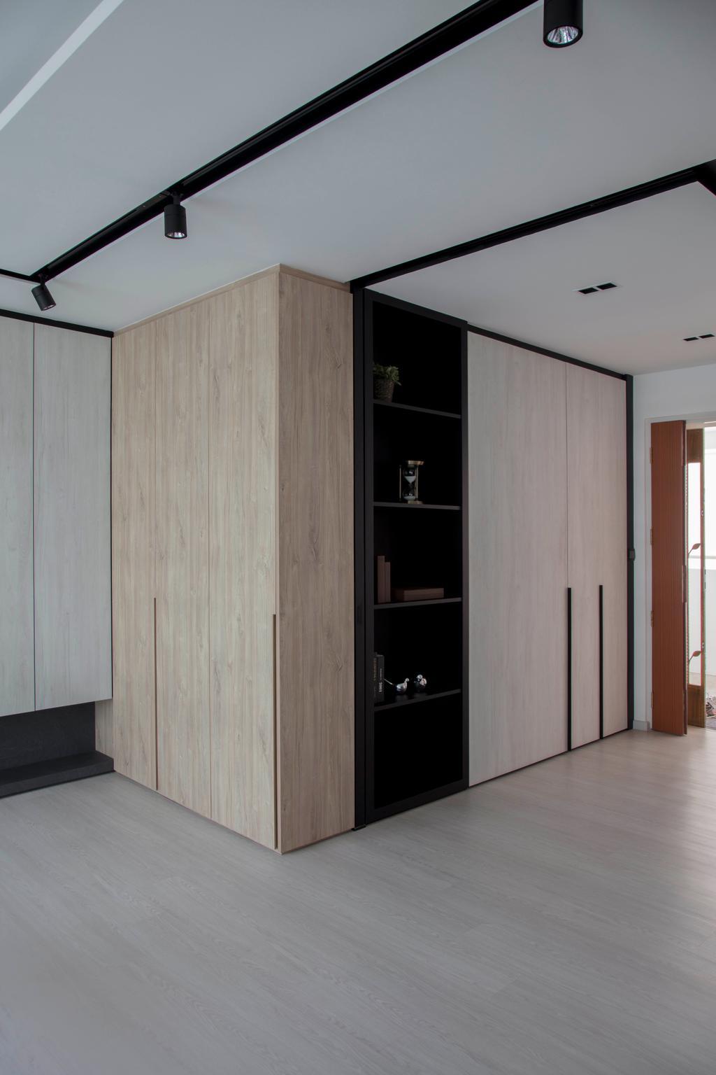 Scandinavian, HDB, Yishun Avenue 4, Interior Designer, KDOT, Shelf, Closet, Furniture, Wardrobe, Bookcase, Electronics, Entertainment Center, Door, Sliding Door