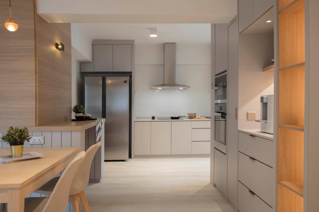 Scandinavian, HDB, Kitchen, Jelebu Road, Interior Designer, KDOT, Door, Sliding Door, Indoors, Interior Design