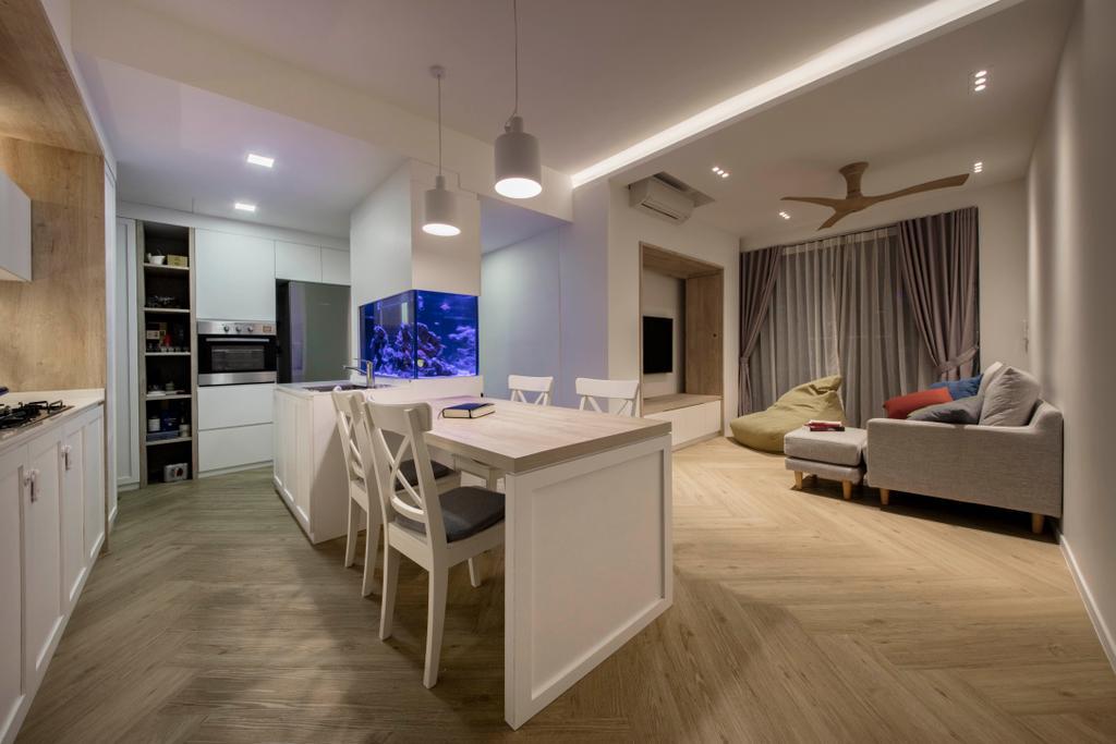 Scandinavian, Condo, Living Room, The Topiary, Interior Designer, Edge Interior, Flooring, Couch, Furniture, Dining Table, Table, Indoors, Interior Design, Chair