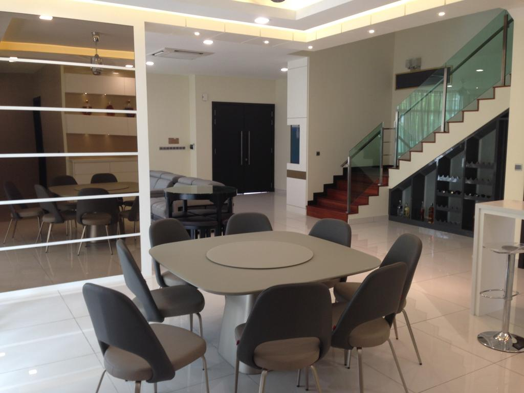Modern, Landed, Kinrara Residence, Puchong, Interior Designer, Trivia Group Sdn. Bhd., Chair, Furniture, Banister, Handrail, Dining Table, Table, Conference Room, Indoors, Meeting Room, Room
