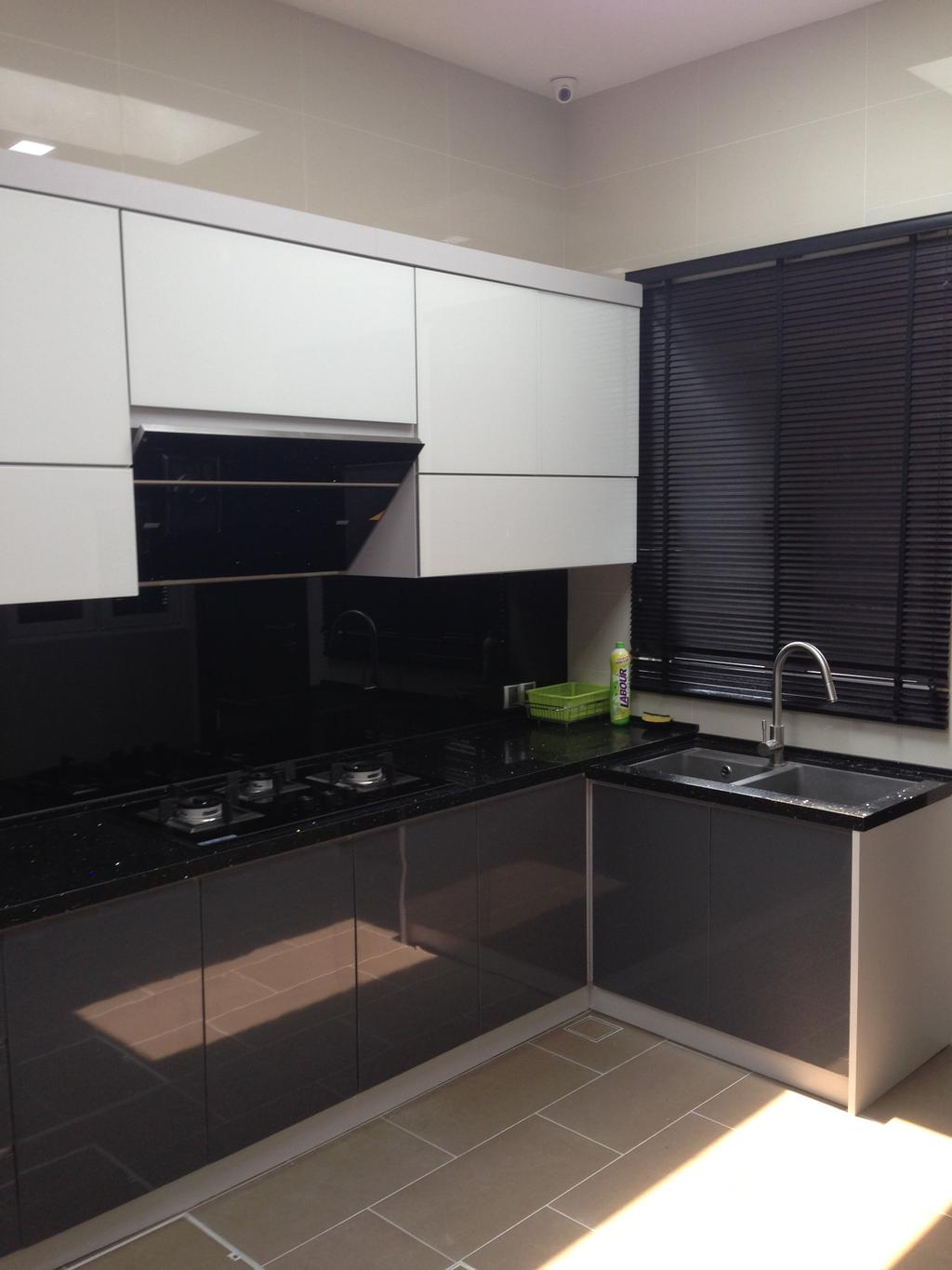 Modern, Landed, Kinrara Residence, Puchong, Interior Designer, Trivia Group Sdn. Bhd., Indoors, Interior Design, Kitchen, Room, Appliance, Electrical Device, Oven, Sink