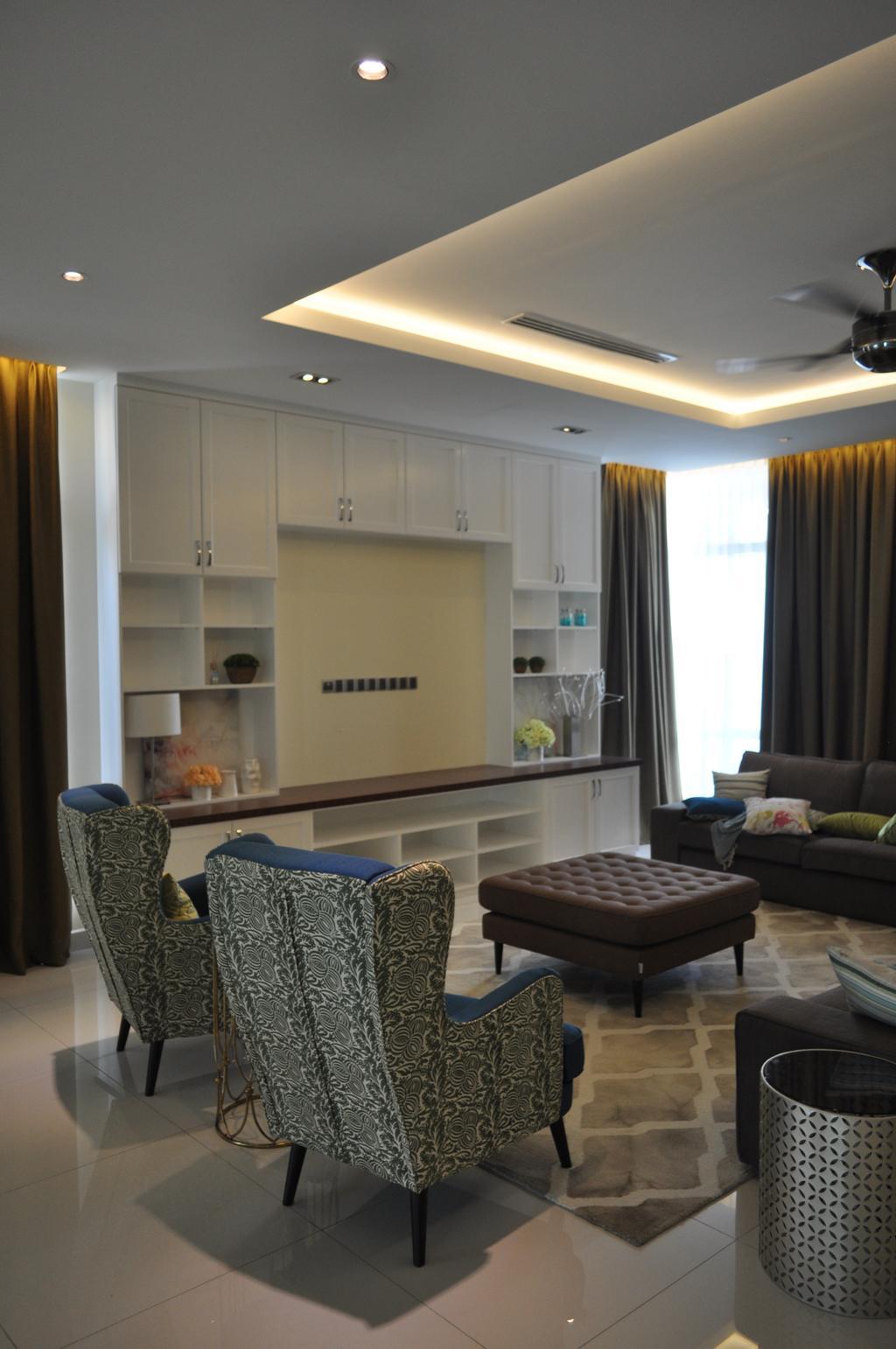 Minimalistic, Landed, Kinrara Residence, Puchong, Interior Designer, Trivia Group Sdn. Bhd., Couch, Furniture, Ottoman