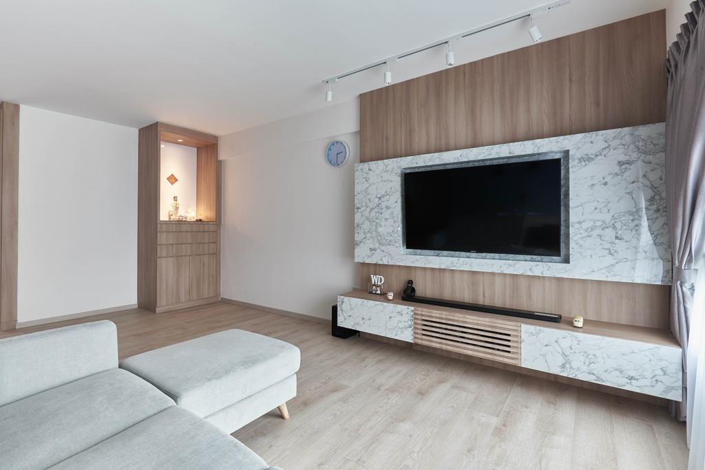 Scandinavian, HDB, Living Room, Yishun Ring Road, Interior Designer, MET Interior, Fireplace, Hearth