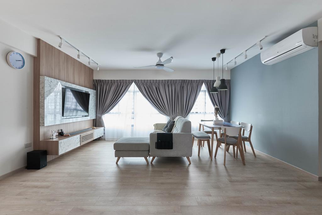 Scandinavian, HDB, Living Room, Yishun Ring Road, Interior Designer, MET Interior, Dining Table, Furniture, Table, Chair, Indoors, Interior Design, Room