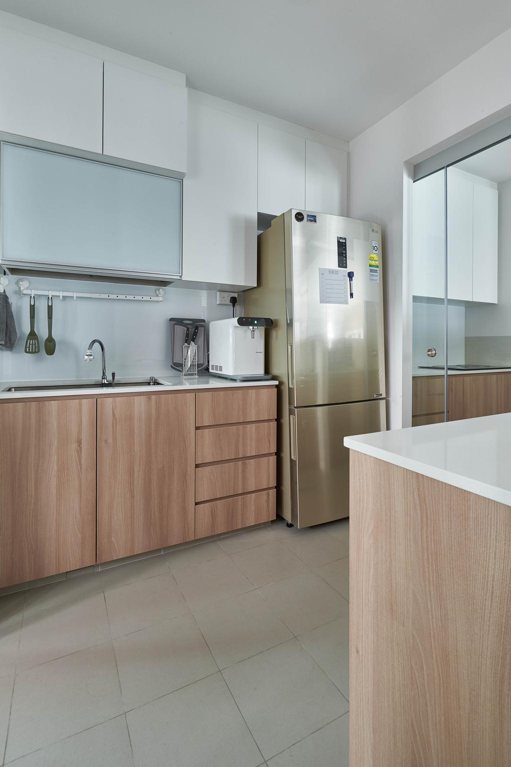 Scandinavian, HDB, Kitchen, Yishun Ring Road, Interior Designer, MET Interior, Indoors, Interior Design, Room, Door, Sliding Door