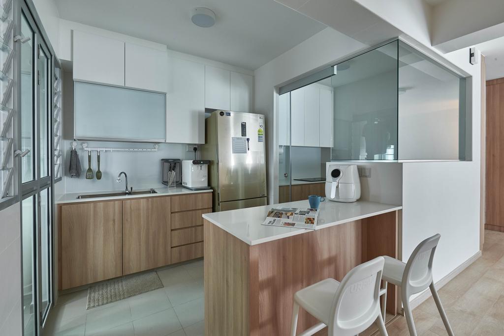 Scandinavian, HDB, Kitchen, Yishun Ring Road, Interior Designer, MET Interior, Chair, Furniture
