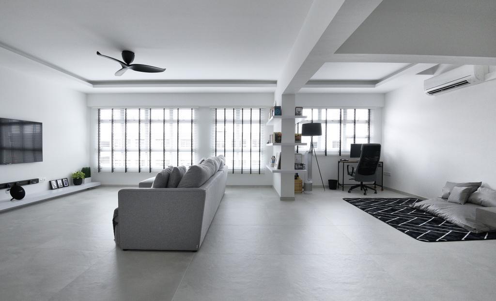 Modern, HDB, Living Room, Bukit Batok West Avenue 8, Interior Designer, Colourbox Interior, Contemporary, Monochrome, Black And White, Simple Design, Classy, Open Concept