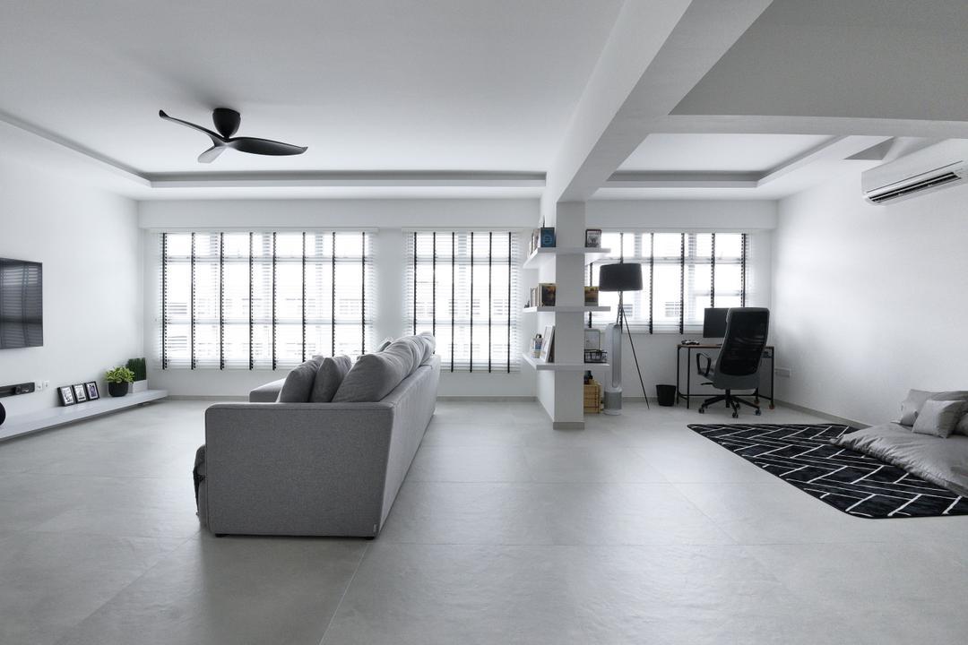 Bukit Batok West Avenue 8, Colourbox Interior, Modern, Contemporary, Living Room, HDB, Monochrome, Black And White, Simple Design, Classy, Open Concept
