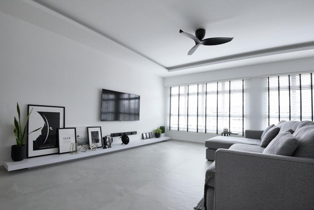 Modern, HDB, Living Room, Bukit Batok West Avenue 8, Interior Designer, Colourbox Interior, Contemporary, Tv Area, Wall Mount Tv