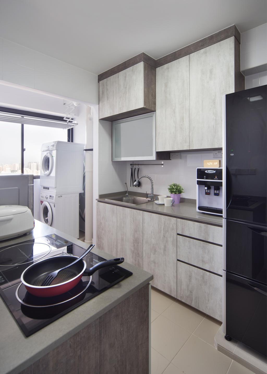 Contemporary, HDB, Kitchen, Clementi Avenue, Interior Designer, JC.M Interior