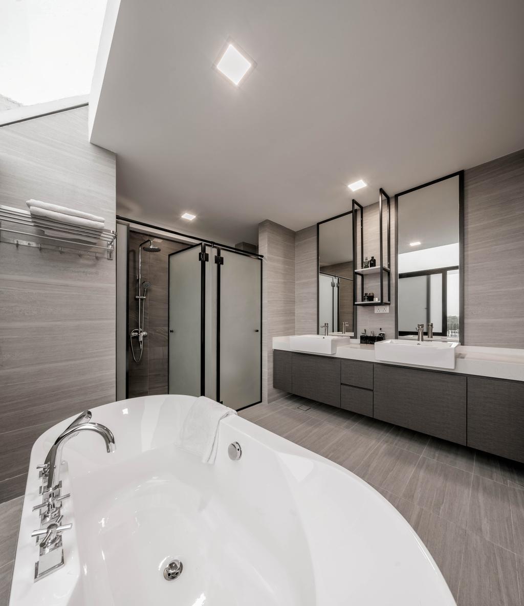 Modern, Landed, Bathroom, Eng Kong Road, Interior Designer, Weiken.com, Contemporary, Bath Tub, Bathtub, Freestanding Tub