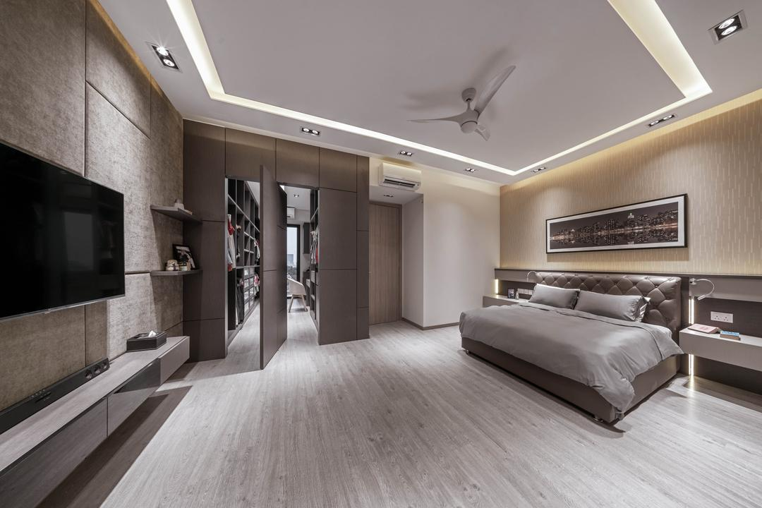 Eng Kong Road, Weiken.com, Modern, Contemporary, Bedroom, Landed, Walk In Wardrobe, Wardrobe, Dresser, Dressing Room, Pivot Door, Concealed Storage, Invisible Storage, Concealed Door