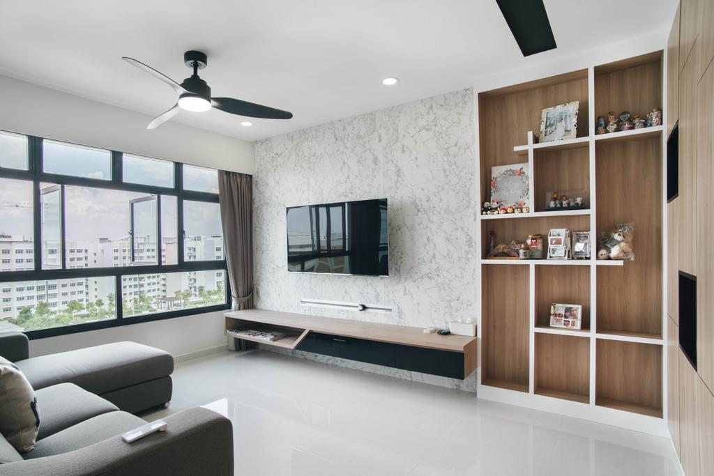 Modern, HDB, Living Room, Yishun Avenue 4, Interior Designer, Urban Habitat Design