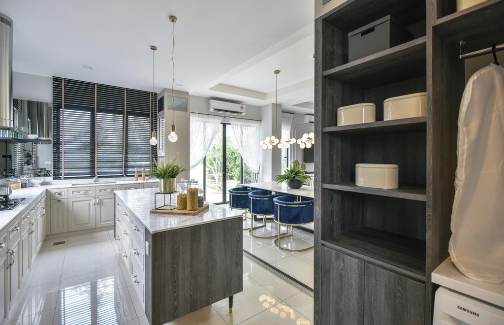 Modern, Landed, Kitchen, Setia Ecohill, Semenyih, Interior Designer, SQFT Space Design Management, Kitchen Island
