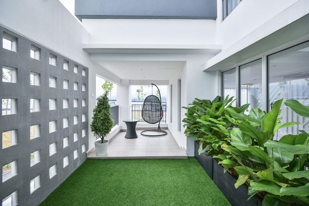 Emerald West, Rawang, SQFT Space Design Management, Contemporary, Garden, Landed, Ventilation Bricks, Carpet Grass, Balcony Swing, Swing Chair, Airwell