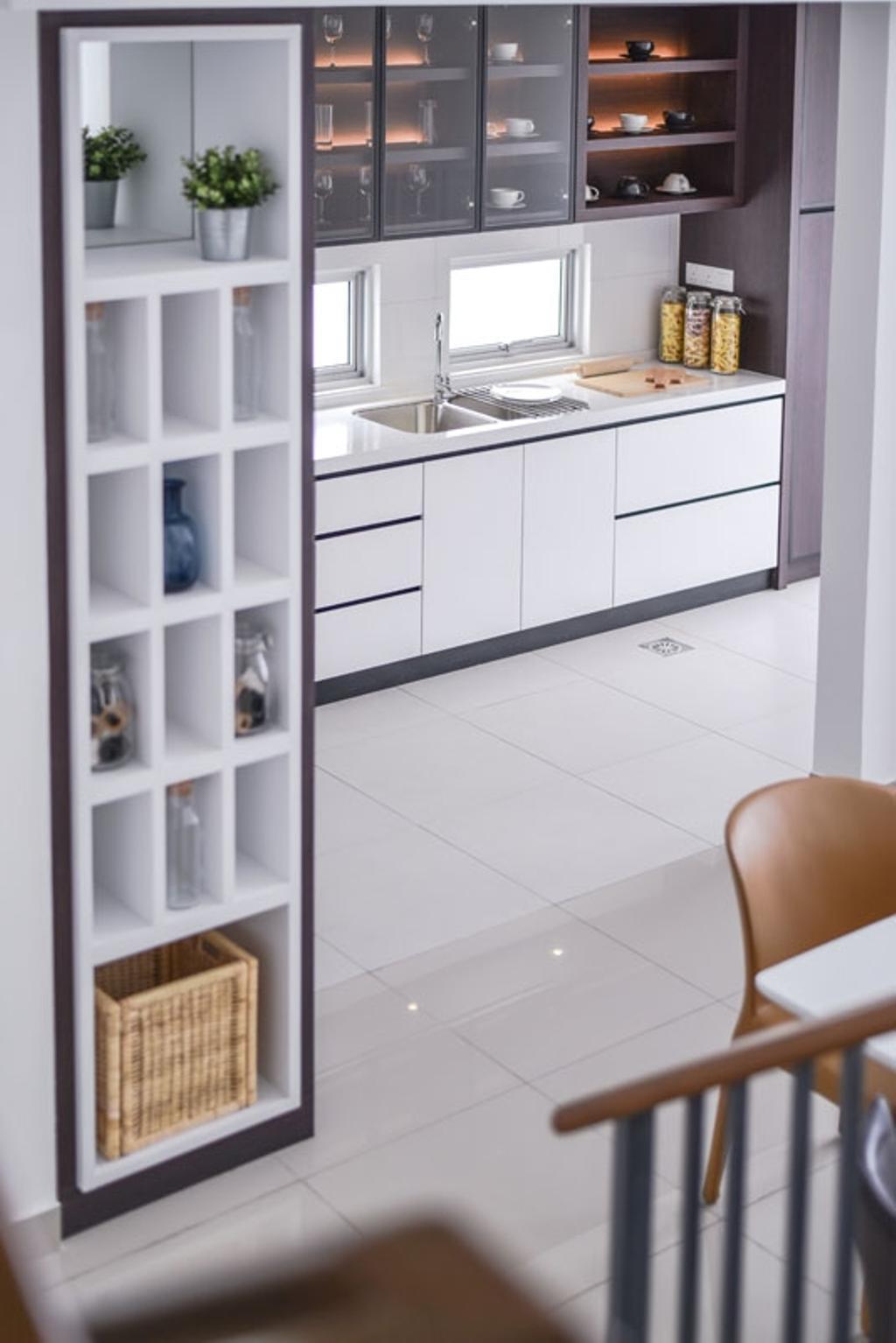 Contemporary, Landed, Kitchen, Emerald West, Rawang, Interior Designer, SQFT Space Design Management, Wine Storage, Vertical Storage, Wine