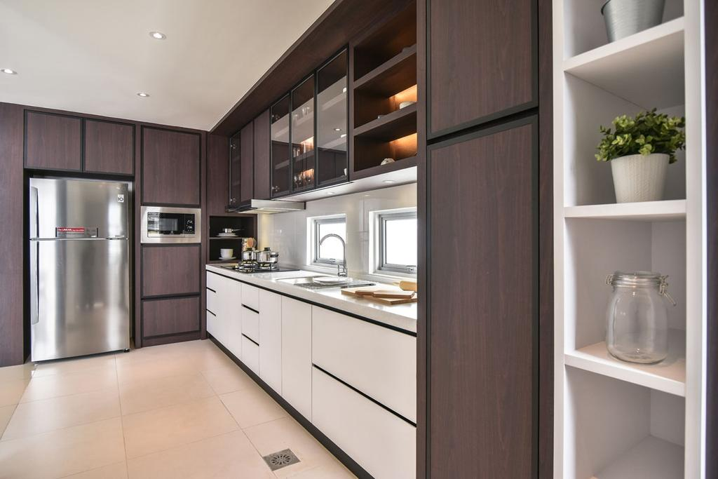Contemporary, Landed, Kitchen, Emerald West, Rawang, Interior Designer, SQFT Space Design Management