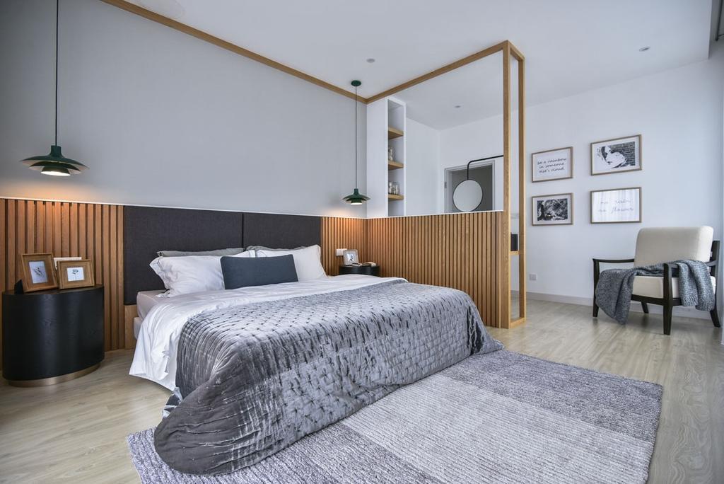 Contemporary, Landed, Bedroom, Emerald West, Rawang, Interior Designer, SQFT Space Design Management, Wood Panelling, Wood Panels