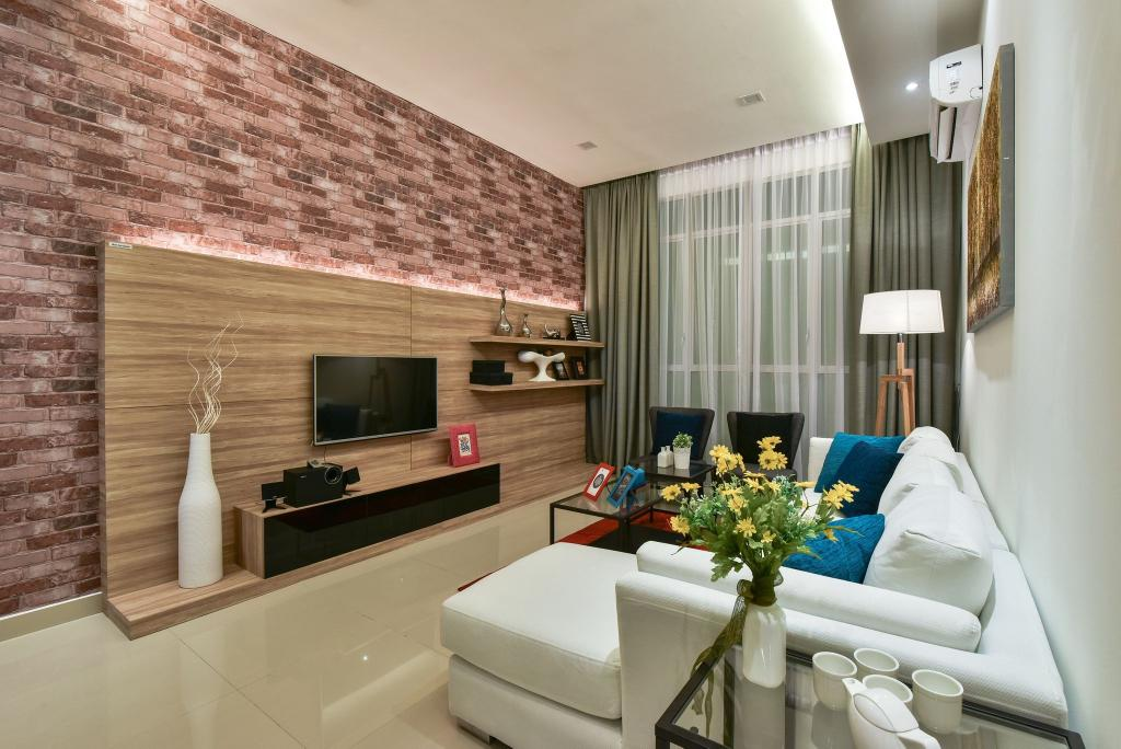Modern, Condo, Living Room, Ceria Residence (Type A), Interior Designer, Nice Style Refurbishment, Brick Wall, Feature Wall