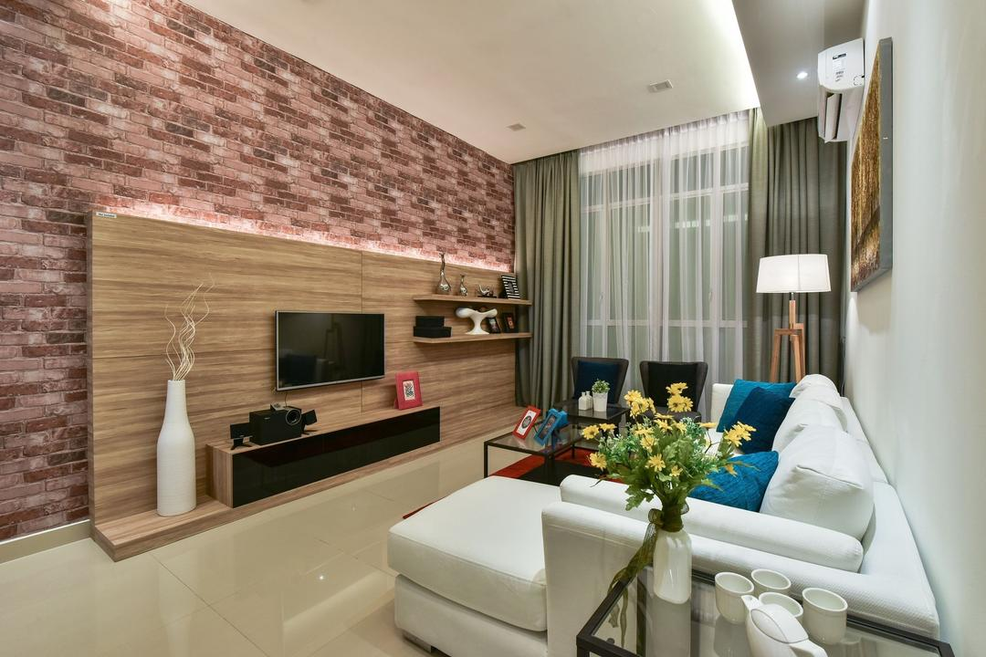 Ceria Residence (Type A), Nice Style Refurbishment, Modern, Living Room, Condo, Brick Wall, Feature Wall