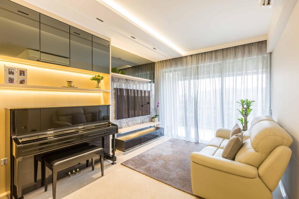 Contemporary, Condo, Living Room, Rivertrees Residences, Interior Designer, The Orange Cube, Piano, Feature Wall