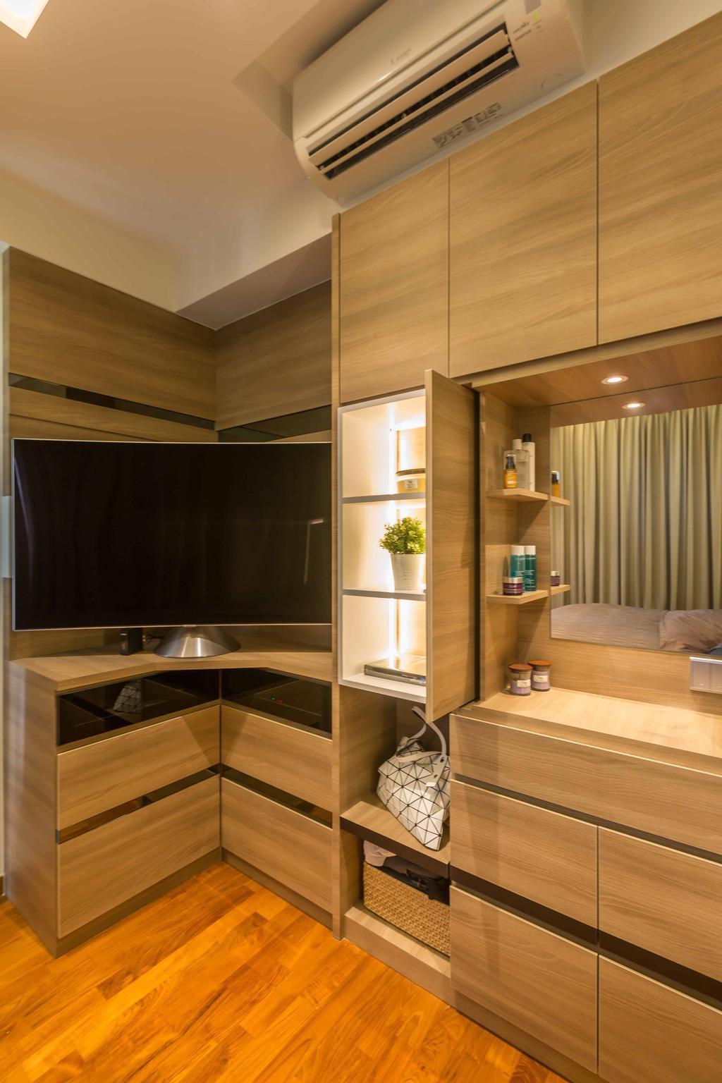 Contemporary, Condo, Bedroom, Rivertrees Residences, Interior Designer, The Orange Cube, Vanity, Wardrobe, Closet, Corner