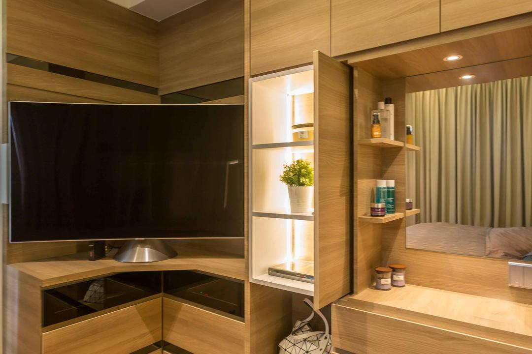 Rivertrees Residences, The Orange Cube, Contemporary, Bedroom, Condo, Vanity, Wardrobe, Closet, Corner