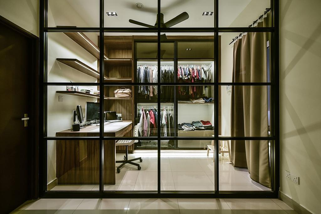 Contemporary, Landed, Study, Damai Perdana, Interior Designer, IQI Concept Interior Design & Renovation, Walk In Wardrobe, Wardrobe, Dresser