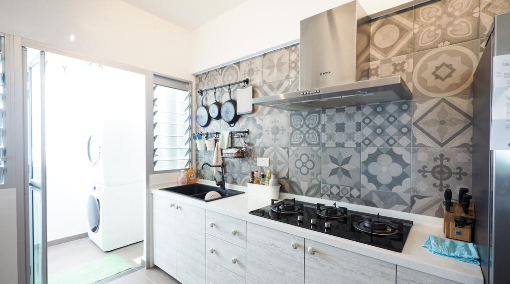 Scandinavian, HDB, Kitchen, Sengkang, Interior Designer, D'Brain Studio