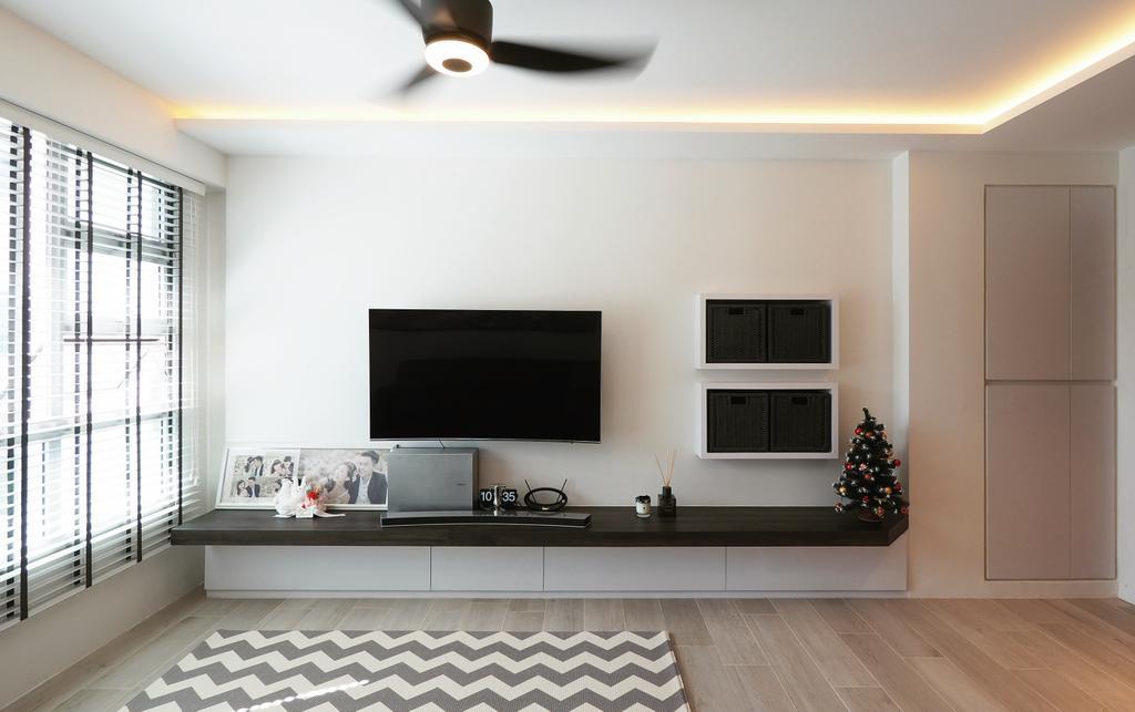 Contemporary, HDB, Living Room, Yio Chu Kang, Interior Designer, D'Brain Studio, Modern