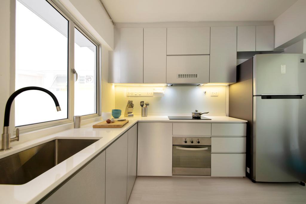 Contemporary, HDB, Kitchen, Bedok Reservoir View, Interior Designer, Azcendant